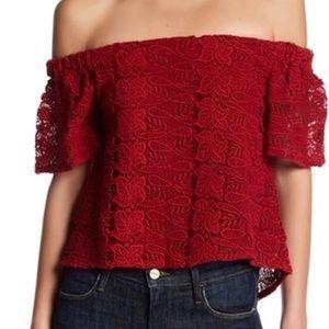 Walter Baker Off-the-shoulder Crochet Short Top